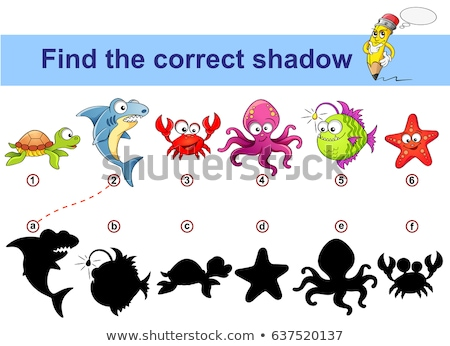 Kids shadow matching puzzle game with sea life Stock photo © adrian_n