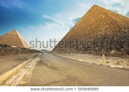 piramit · çöl · deve · gökyüzü · güneş · gün · batımı - stok fotoğraf © givaga