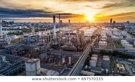 Aerial view of factory smoke stack - Oil refinery, petrochemical Stock photo © vlad_star