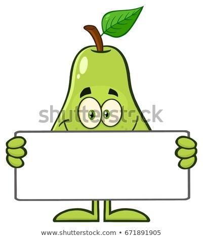 улыбаясь · зеленый · груши · фрукты · лист · мультфильм · талисман - Сток-фото © hittoon