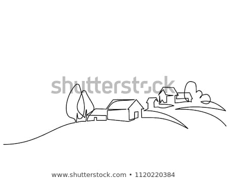 Countryside line style landscape vector banner. Stock photo © yopixart