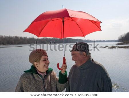 Nehir şemsiye çift mutluluk Stok fotoğraf © IS2