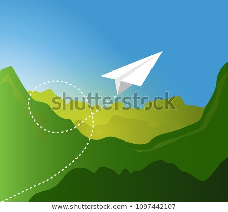 Stockfoto: Papier · vliegtuig · vliegen · patroon · groene · berg