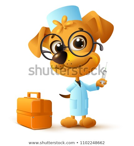 funny yellow dog doctor vet holding injector stock photo © orensila