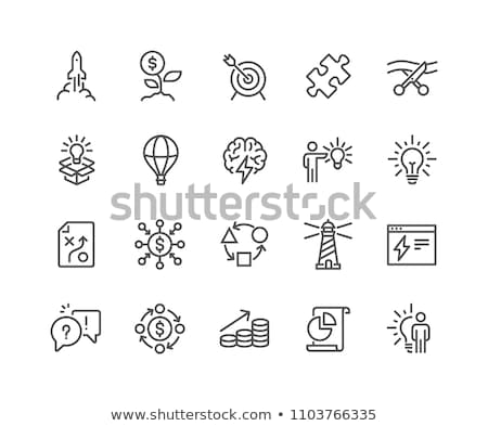Icon with launching rocket for startup concept. Pixel perfect Stock photo © ussr