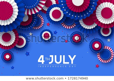 Fourth of July. Independence Day Sale Banner Design with Balloon and Flag on Confetti Background. US Stock photo © articular