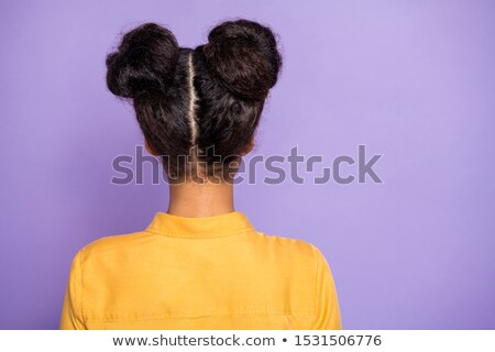 mögött · csomó · haj · citromsárga · visel · nő - stock fotó © toyotoyo