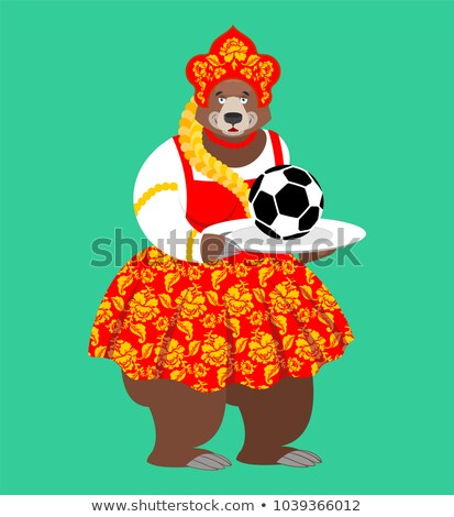 Russian bear and soccer ball. Welcome. Football Championship in  Stock photo © popaukropa