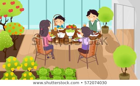 Stickman Family Dine Indoor Garden Stock photo © lenm