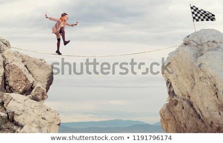 Stock fotó: Bohóc · lány · elér · zászló · kötél · sétál
