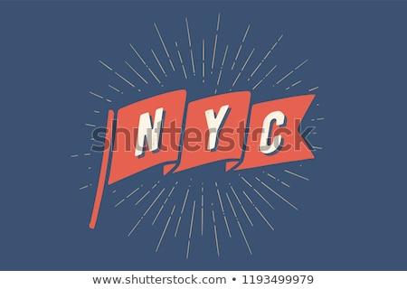 Zászló NY öreg iskola szalag szöveg Stock fotó © FoxysGraphic