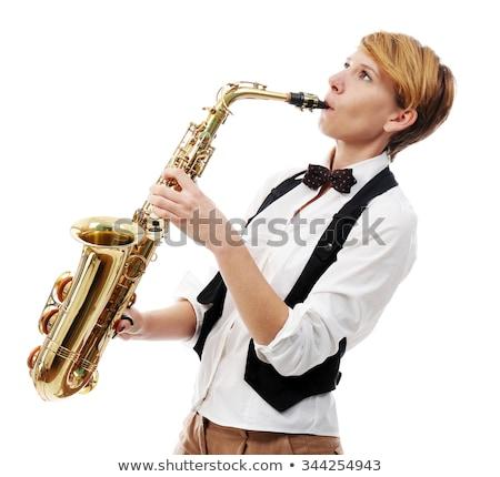 Fiatal nő játszik szaxofon fehér nő háttér Stock fotó © AndreyPopov