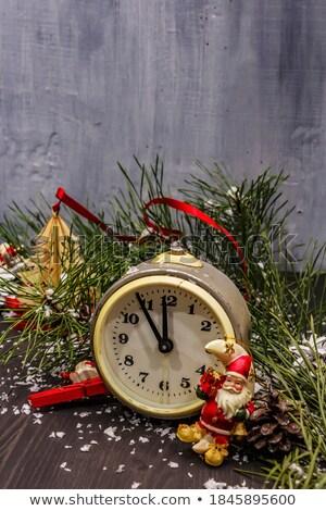 Natal boneco de neve brinquedo despertador ramo Foto stock © karandaev