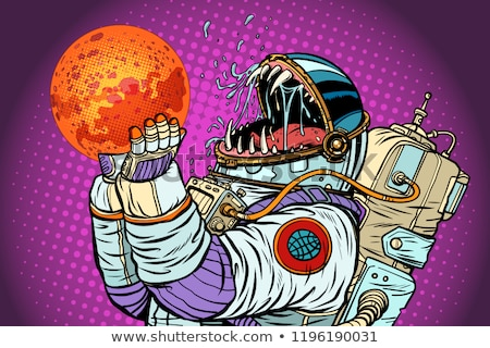 Stock photo: Astronaut monster eats Mars. Greed and hunger of mankind concept