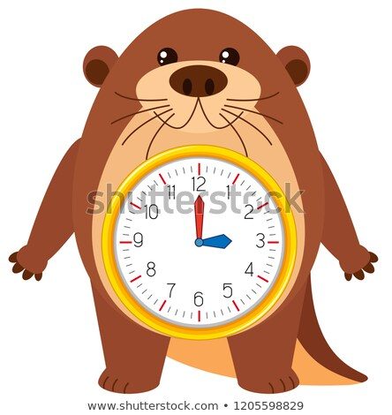 Otter clock on white background Stock photo © bluering