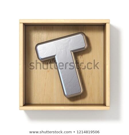 Ezüst fém t betű fából készült doboz 3D Stock fotó © djmilic