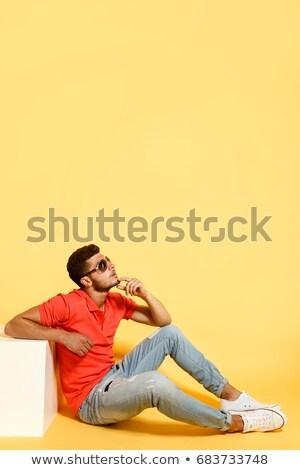 Portré fáradt fiatal lezser férfi áll Stock fotó © deandrobot