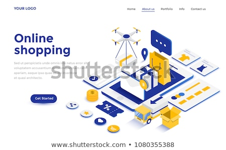 Flat isometric vector concept of mobile shopping, e-commerce, online store. Stock photo © TarikVision