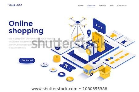 flat isometric vector concept of mobile shopping e commerce online store stock photo © tarikvision