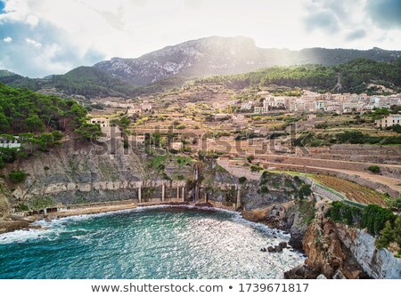 aerial view of small hillside banyalbufar town majorca spain stock photo © amok