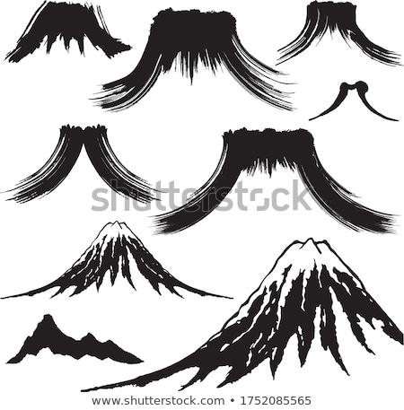 Vulkán kitörés vektor ikon logo logoterv Stock fotó © blaskorizov