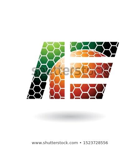 зеленый · оранжевый · соты · шаблон · вектора - Сток-фото © cidepix