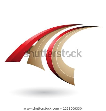 Vermelho bege dinâmico voador letra c vetor Foto stock © cidepix