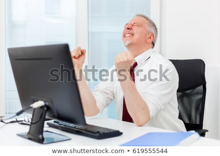 mature businessman raising arms in front of his pc stock photo © minervastock