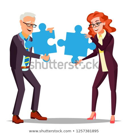 Partnership Vector. Businessman Man, Woman Holding In Hands Two Large Puzzles And Put It Together. I Stock photo © pikepicture