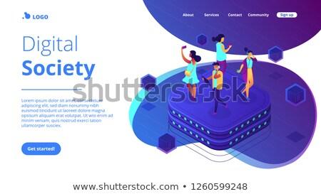 gedrag · isometrische · 3D · landing · pagina - stockfoto © rastudio