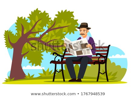 Old Man Reading Daily Newspaper in Park Vector Stock photo © robuart