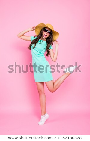 young dancing model in panama hat isolated on white stock photo © elnur