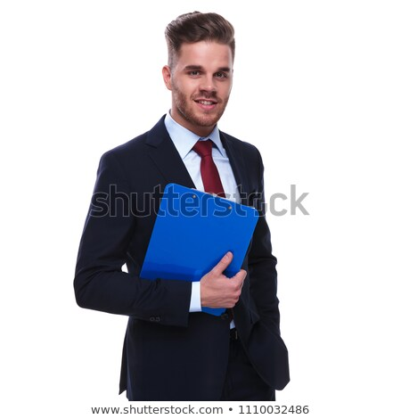 portrait of seductive businessman wearing navy suit and red tie Stock photo © feedough