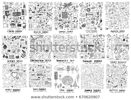 Stock fotó: Bank · kézzel · rajzolt · skicc · firka · ikon · ingatlan