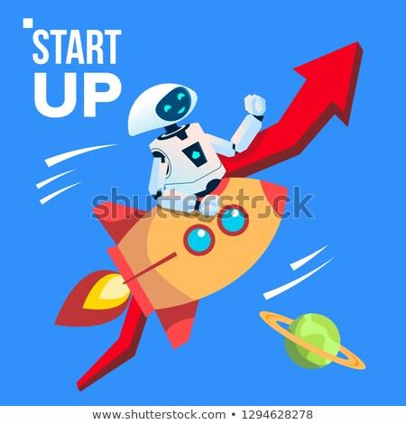 Robot uzay roket vektör başlatmak yukarı Stok fotoğraf © pikepicture
