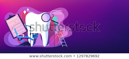 Tandheelkunde banner tandarts vergrootglas ladder Stockfoto © RAStudio