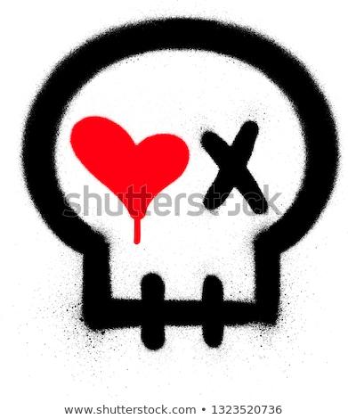 落書き 情熱的な 頭蓋骨 アイコン 白 愛 ストックフォト © Melvin07