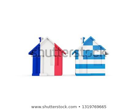 Dois casas bandeiras França Grécia isolado Foto stock © MikhailMishchenko