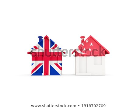 two houses with flags of united kingdom and singapore stock photo © mikhailmishchenko
