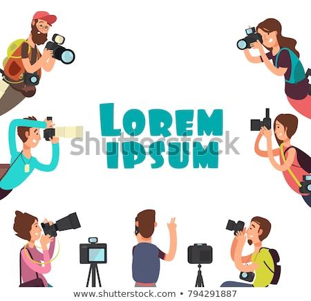 Paparazzi fotograf człowiek kamery plakaty Zdjęcia stock © robuart