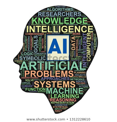 Human head ai artificial intelligence wordcloud Stock photo © nasirkhan