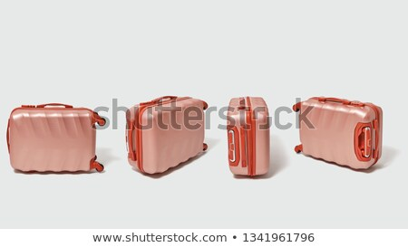 collection of brown suitcases for travel on a gray background with with copy space creative layout stock photo © artjazz