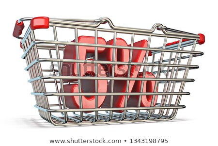steel shopping basket 5 percent sign 3d stock photo © djmilic