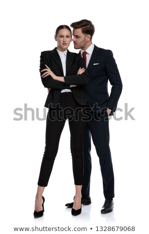Couple affaires chuchotement main Photo stock © feedough