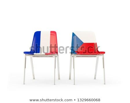 Dois cadeiras bandeiras França República Checa isolado Foto stock © MikhailMishchenko