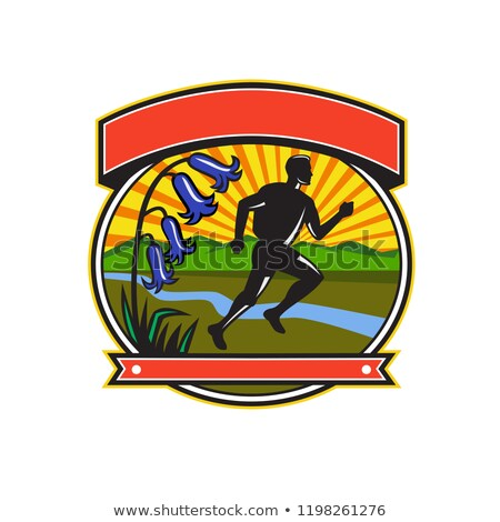 Trail Runner Bluebells Oval Icon Stock photo © patrimonio