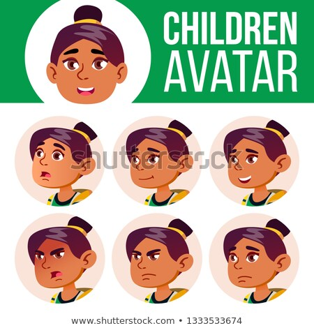 Arap · Müslüman · avatar · ayarlamak · çocuk · vektör - stok fotoğraf © pikepicture