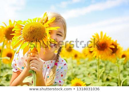 Kind spelen zonnebloem veld zonnige zomer Stockfoto © dashapetrenko