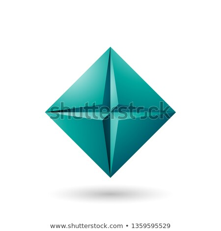 Persian Green Diamond Icon with a Star Shape Vector Illustration Stock photo © cidepix