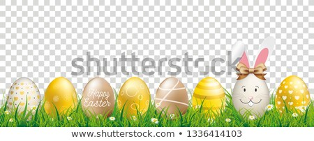 Golden Easter Eggs Hare Ears Transparent Header Stock photo © limbi007